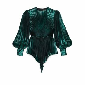 Iridescent lamé pleated mini dress