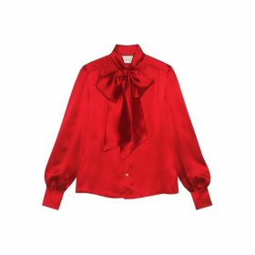 Satin shirt with neck bow