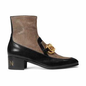 Women's Horsebit chain boot with lizard