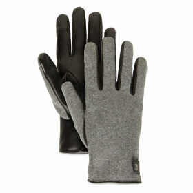 Timberland Leather And Wool Gloves For Women In Grey Grey, Size M