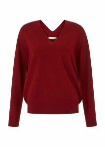 Emma Seamless Merino Wool Blend Sweater Burgundy