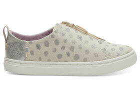 TOMS Tan Metallic Torn Dots Youth Lenny Sneakers Shoes - Size UK13