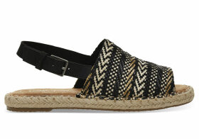 TOMS Black Woven Clara Women's Espadrilles Shoes - Size UK7