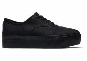 TOMS Black Leopard Canvas Platform Women's Cordones Boardwalk Sneakers Venice Collection Shoes - Size UK7.5