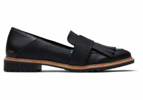 TOMS Black Leather Women's Mallory Flats Shoes - Size UK4