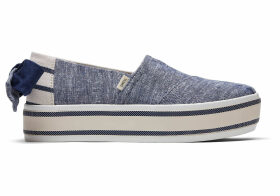 TOMS Navy Chambray With Bow Platform Women's Boardwalk Espadrilles Shoes - Size UK10