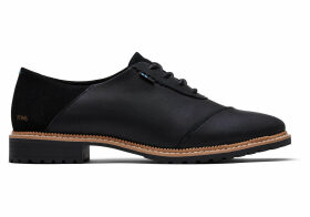 TOMS Black Leather And Suede Women's Ainsley Dress Casuals Shoes - Size UK10