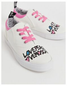 Love Moschino lace up trainer in white
