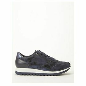 John Lewis & Partners Designed for Comfort Elga Lace-Up Suede Trainers, Navy