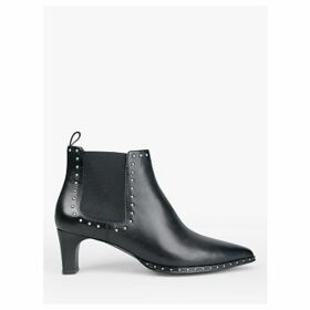 hush Whitby Leather Stud Detail Ankle Boots, Black/Silver