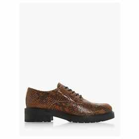 Dune Fearce Leather Croc-Effect Shoes, Natural