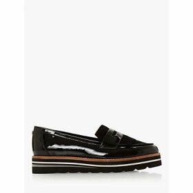 Dune Wide Fit Gracella Flatform Loafers, Black