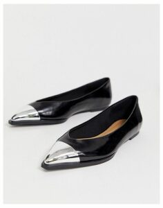 ASOS DESIGN Logan pointed ballet flats with toe cap in black
