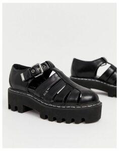 Lamoda black caged chunky flatform shoes