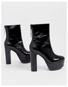 ASOS DESIGN Embers platform ankle boots in black patent