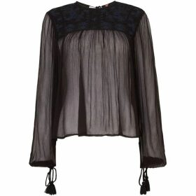 Free People Long Sleeve Sheer Retro Femme Top