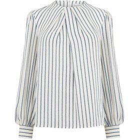 Warehouse Rope Stripe Pleat Neck Top