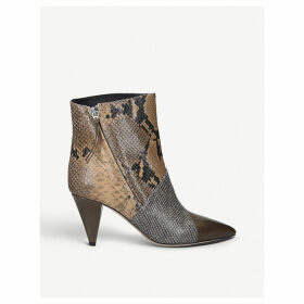 Latts snake-print leather ankle boots