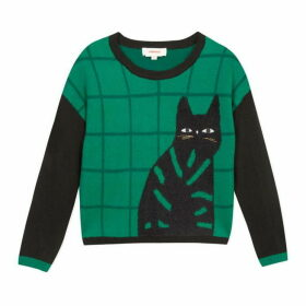 Catimini Green Check Jumper With Cat Motif.