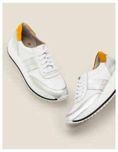 Platform Leather Trainers Silver Women Boden, White