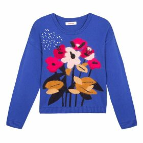 Catimini Royal Blue T-Shirt With Floral Pattern