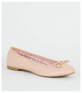 Pink Leather-Look Check Lined Ballet Pumps New Look Vegan