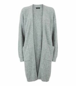 Grey Ribbed Long Sleeve Longline Cardigan New Look