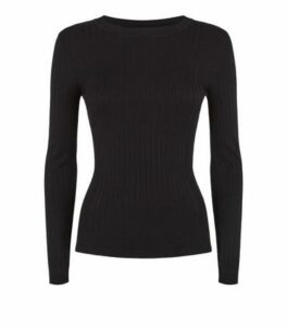 Petite Black Ribbed Knit Jumper New Look