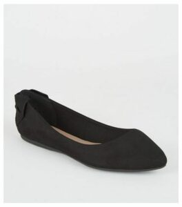 Wide Fit Black Suedette Bow Heel Pumps New Look