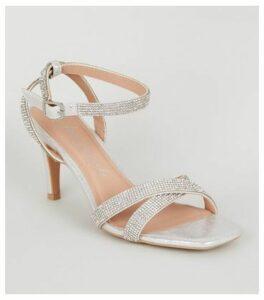 Wide Fit Silver Diamanté Strap Heels New Look Vegan