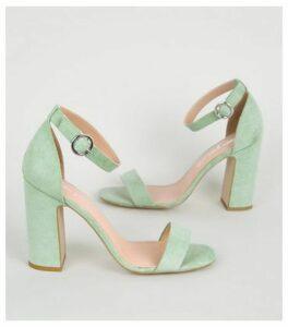 Mint Green Suedette 2 Part Block Heels New Look