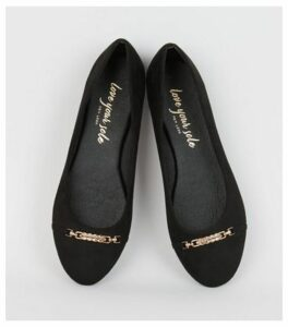 Black Suedette Bar Front Ballet Pumps New Look Vegan