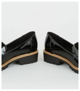 Wide Fit Black Patent Chunky Loafers New Look
