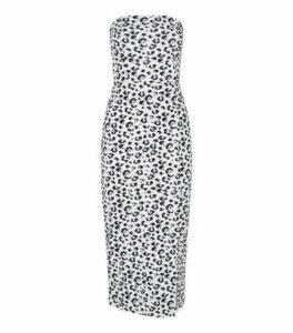 White Leopard Print Bandeau Bodycon Dress New Look