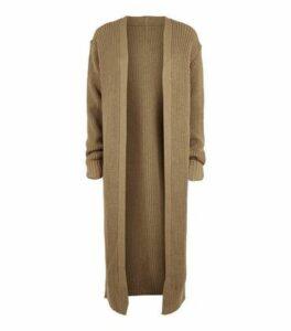 Carpe Diem Camel Cuffed Midi Cardigan New Look