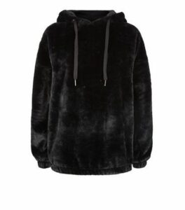 Black Faux Fur Hoodie New Look