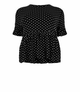 Curves Black Spot Peplum T-Shirt New Look
