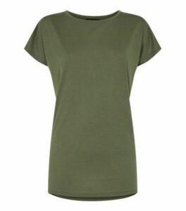 Khaki Longline T-Shirt New Look
