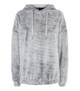 Grey Faux Fur Hoodie New Look