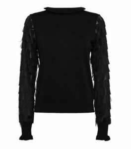 Black Fringe Sleeve Jumper New Look