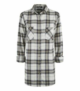 Tall White Check Print Flannel Shirt New Look