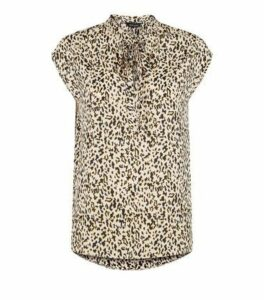 Brown Leopard Print Tie Neck Top New Look