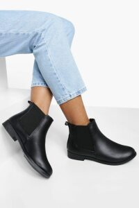 Womens Wide Fit Flat Chelsea Boots - black - 8, Black