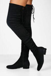 Womens Flat Tie Back Thigh High Boots - black - 7, Black