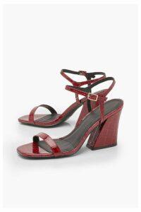 Womens Croc Flared Heel 2 Part Heels - 4, Red