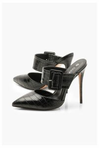 Womens Pointed Buckle Detail Court Mules - black - 7, Black