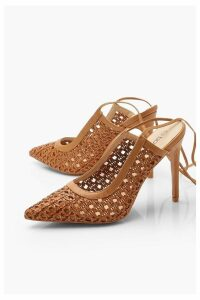 Womens Woven Wrap Pointed Court Shoes - brown - 6, Brown