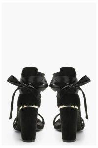 Womens Block Heel Wrap 2 Part Heels - black - 5, Black