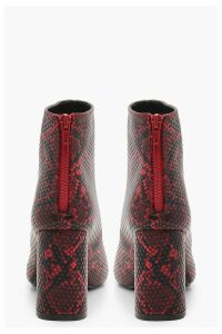 Womens Snake Block Heel Pointed Shoe Boots - red - 3, Red