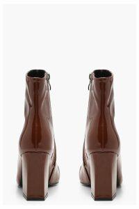 Womens Square Toe Block Heel Shoe Boots - Brown - 3, Brown